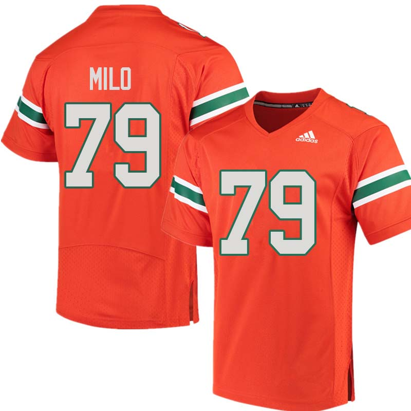 Adidas Miami Hurricanes #79 Bar Milo College Football Jerseys Sale-Orange