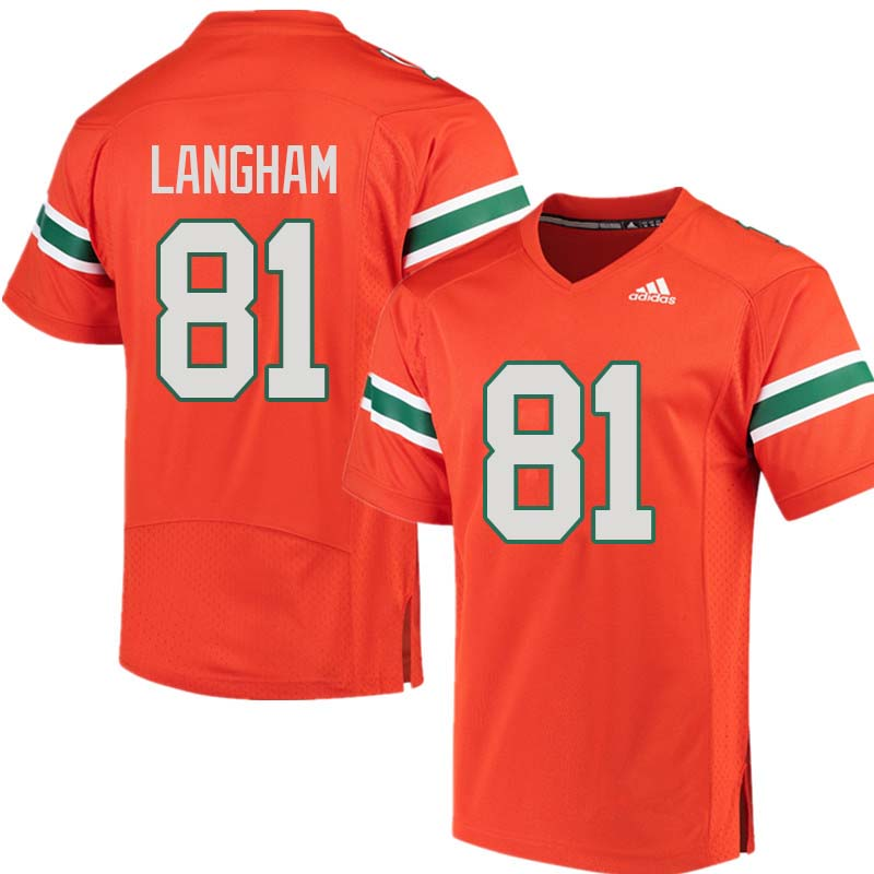 Adidas Miami Hurricanes #81 Darrell Langham College Football Jerseys Sale-Orange