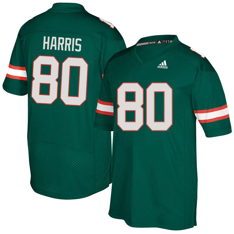 Adidas Miami Hurricanes #80 Dayall Harris College Football Jerseys Sale-Green