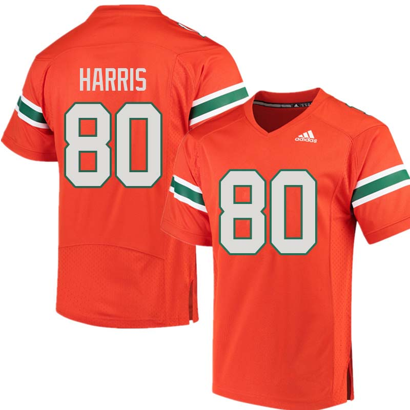 Adidas Miami Hurricanes #80 Dayall Harris College Football Jerseys Sale-Orange