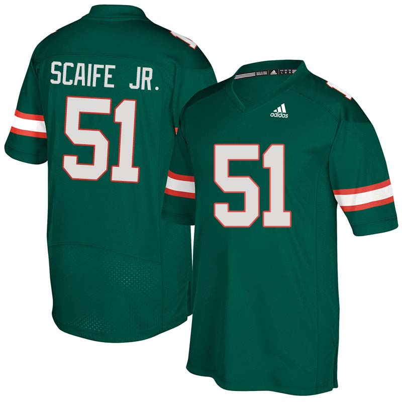 Adidas Miami Hurricanes #51 Delone Scaife Jr. College Football Jerseys Sale-Green