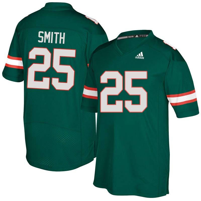 Adidas Miami Hurricanes #25 Derrick Smith College Football Jerseys Sale-Green