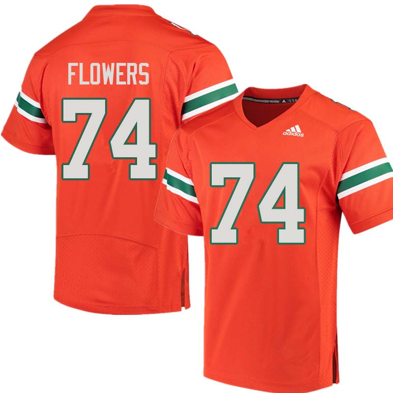 Adidas Miami Hurricanes #74 Ereck Flowers College Football Jerseys Sale-Orange