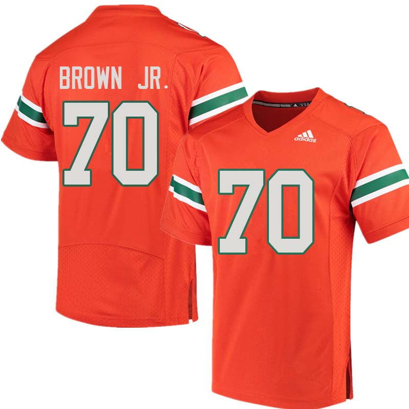 Adidas Miami Hurricanes #70 George Brown Jr. College Football Jerseys Sale-Orange