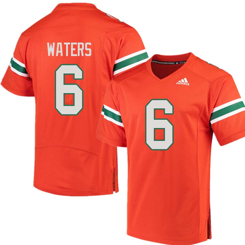 Adidas Miami Hurricanes #6 Herb Waters College Football Jerseys Sale-Orange
