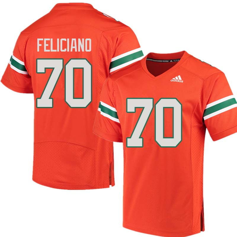 Adidas Miami Hurricanes #70 Jon Feliciano College Football Jerseys Sale-Orange