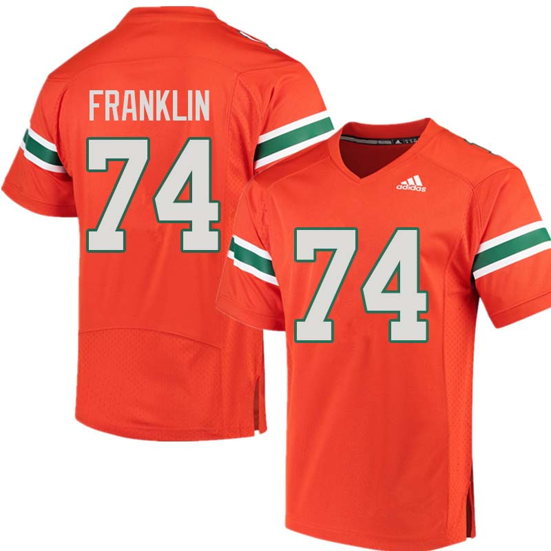 Adidas Miami Hurricanes #74 Orlando Franklin College Football Jerseys Sale-Orange