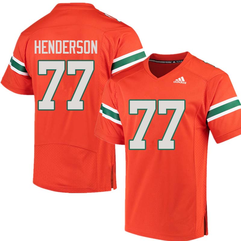 Adidas Miami Hurricanes #77 Seantrel Henderson College Football Jerseys Sale-Orange