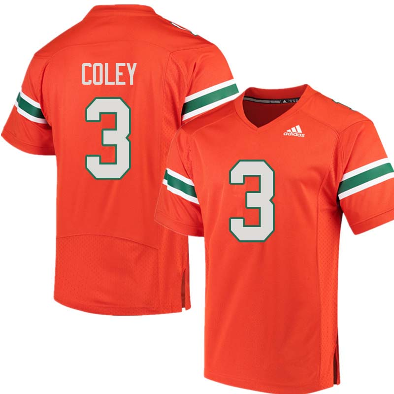 Adidas Miami Hurricanes #3 Stacy Coley College Football Jerseys Sale-Orange