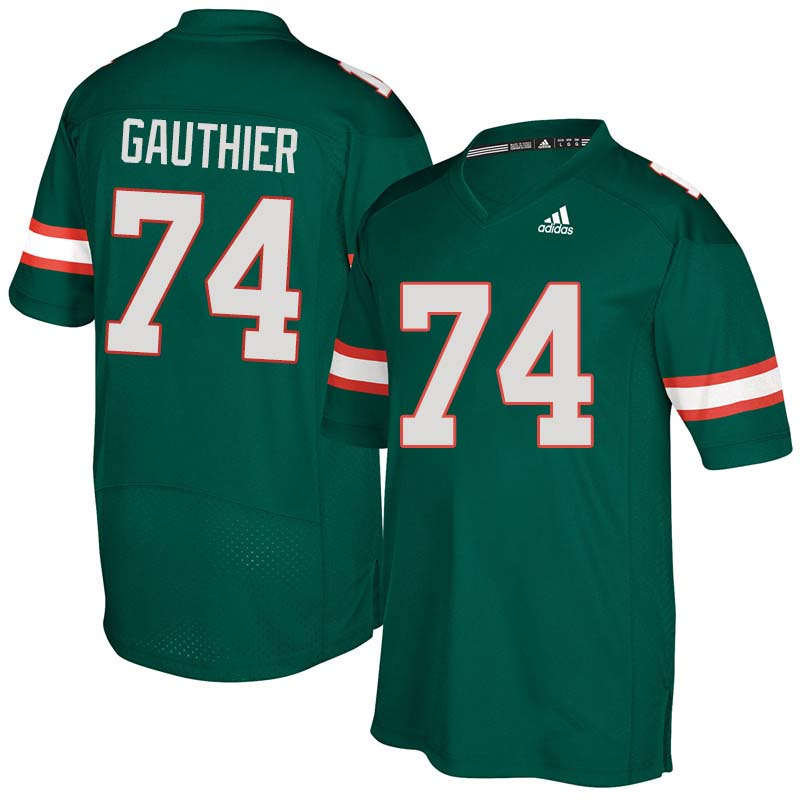 Adidas Miami Hurricanes #74 Tyler Gauthier College Football Jerseys Sale-Green