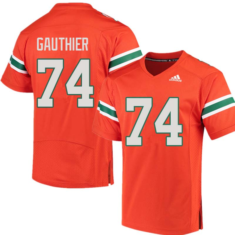 Adidas Miami Hurricanes #74 Tyler Gauthier College Football Jerseys Sale-Orange