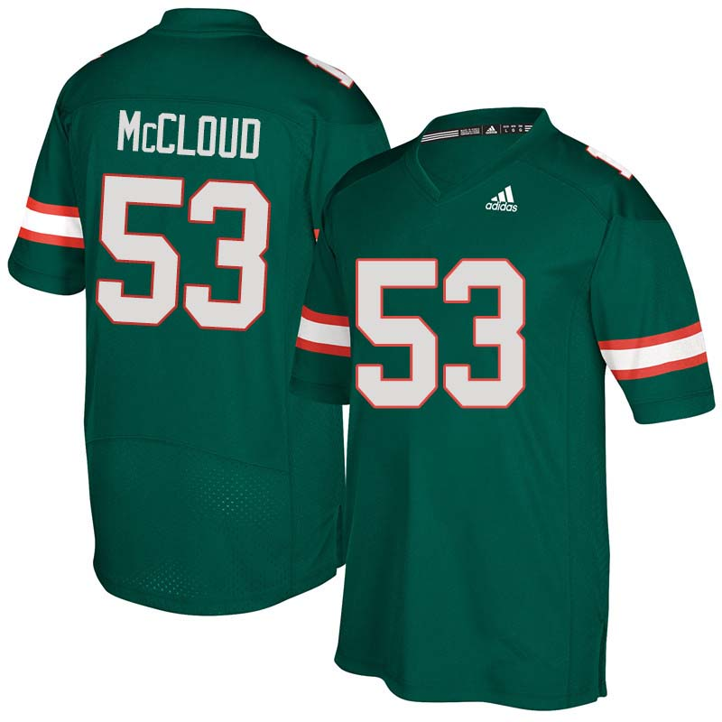 Adidas Miami Hurricanes #53 Zach McCloud College Football Jerseys Sale-Green