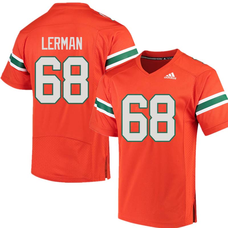 Adidas Miami Hurricanes #68 Zachary Lerman College Football Jerseys Sale-Orange
