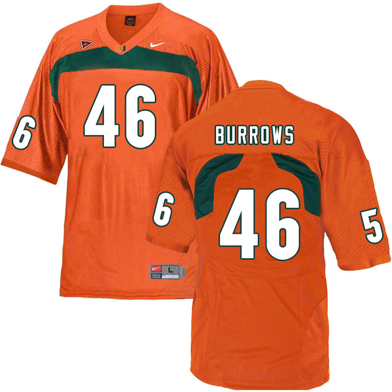 Nike Miami Hurricanes #46 Suleman Burrows College Football Jerseys Sale-Orange