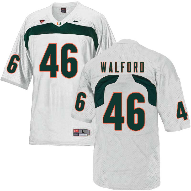 Nike Miami Hurricanes #46 Clive Walford College Football Jerseys Sale-White