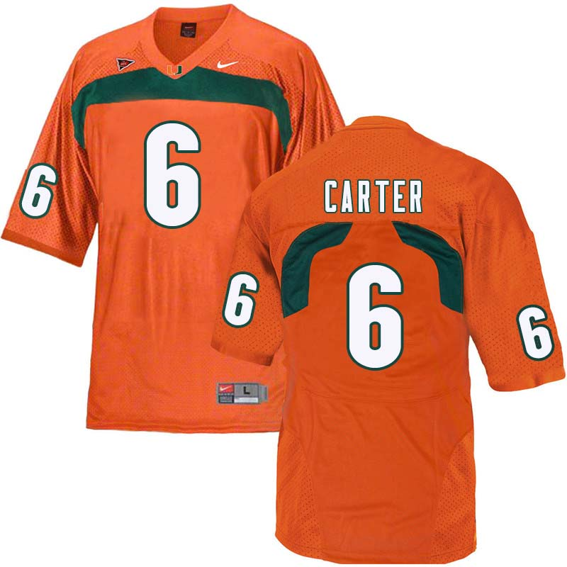 Nike Miami Hurricanes #6 Jamal Carter College Football Jerseys Sale-Orange