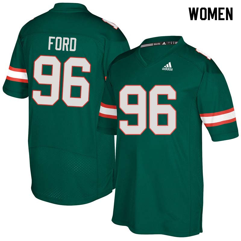 Women Miami Hurricanes #96 Jonathan Ford College Football Jerseys Sale-Green