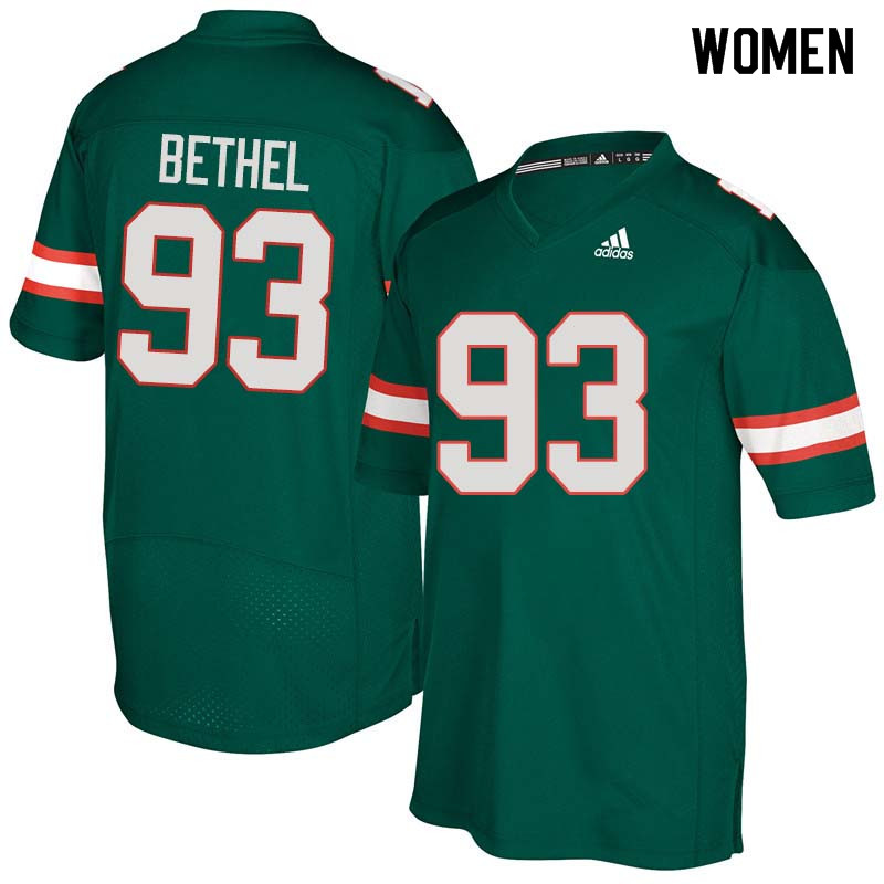 Women Miami Hurricanes #93 Pat Bethel College Football Jerseys Sale-Green