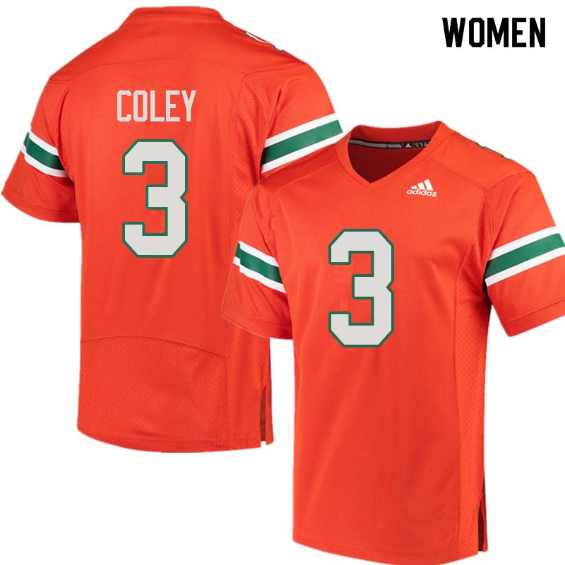 Women Miami Hurricanes #3 Stacy Coley College Football Jerseys Sale-Orange