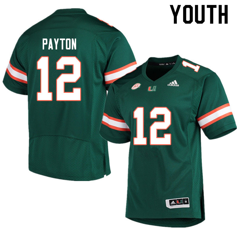 Adidas Miami Hurricanes Youth #12 Jeremiah Payton College Football Jerseys Sale-Green