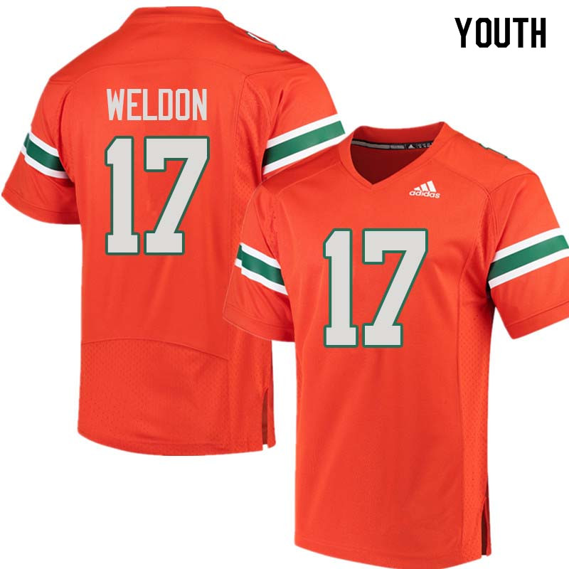 Youth Miami Hurricanes #17 Cade Weldon College Football Jerseys Sale-Orange