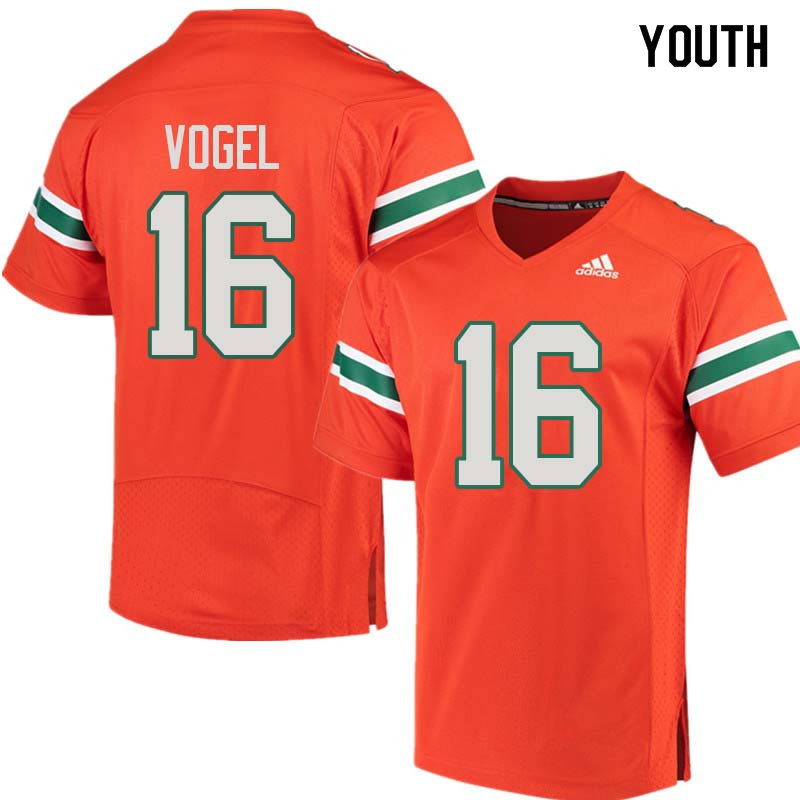 Youth Miami Hurricanes #16 Justin Vogel College Football Jerseys Sale-Orange