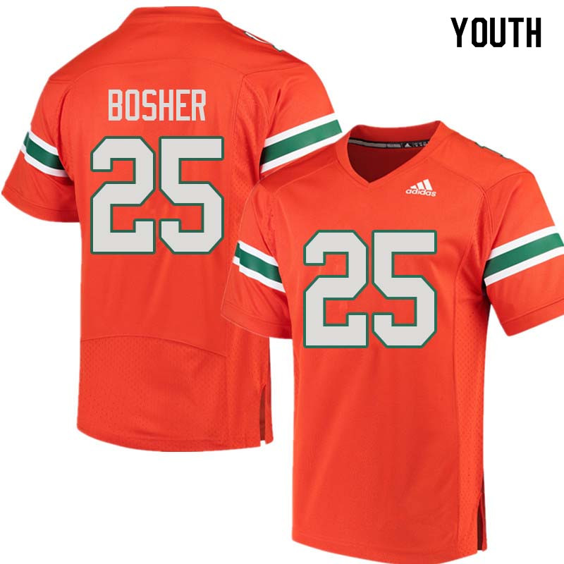 Youth Miami Hurricanes #25 Matt Bosher College Football Jerseys Sale-Orange