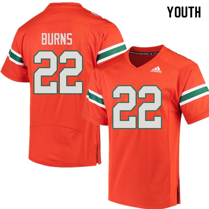 Youth Miami Hurricanes #22 Robert Burns College Football Jerseys Sale-Orange