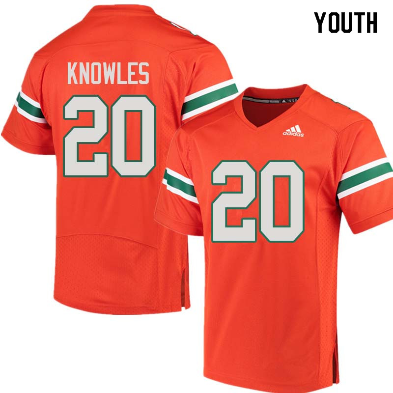 Youth Miami Hurricanes #20 Robert Knowles College Football Jerseys Sale-Orange