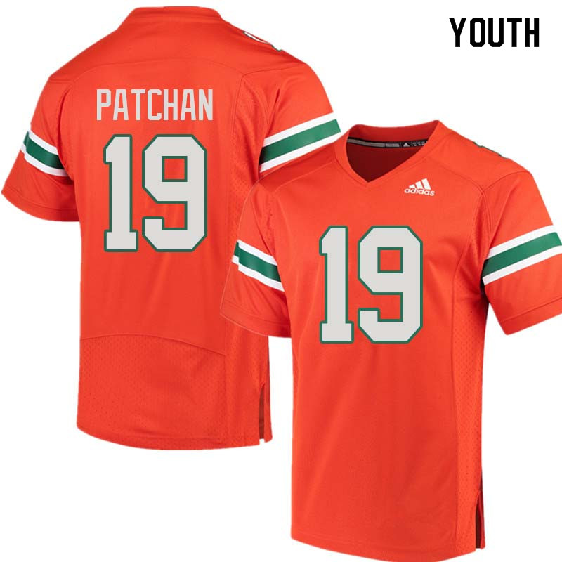 Youth Miami Hurricanes #19 Scott Patchan College Football Jerseys Sale-Orange