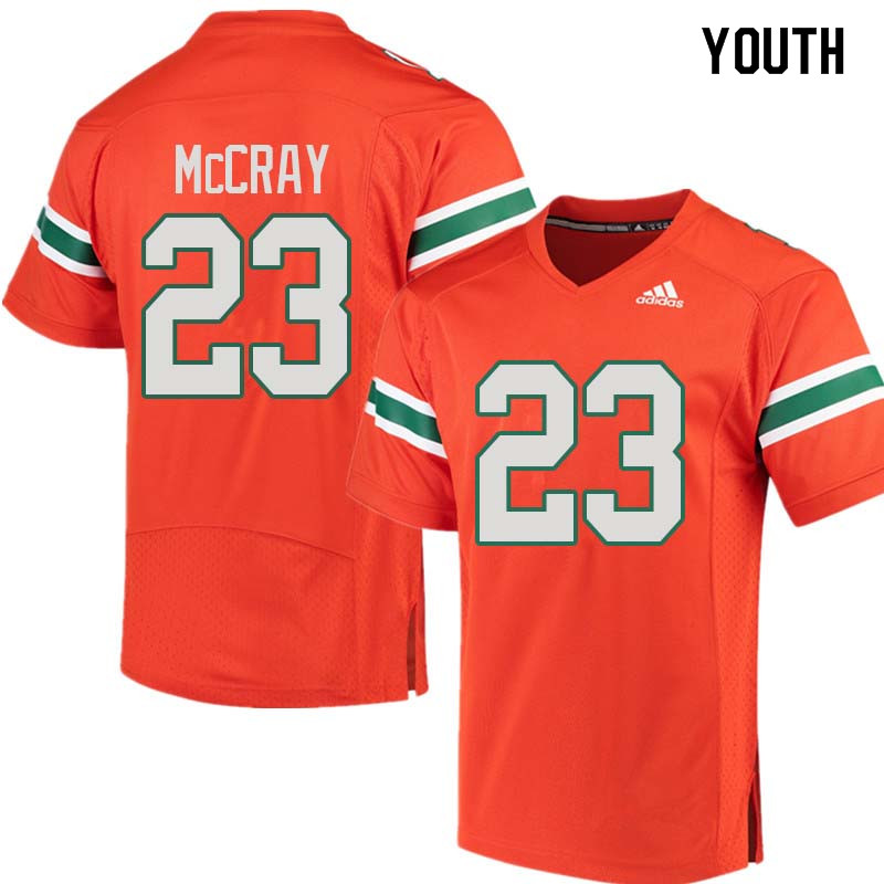 Youth Miami Hurricanes #23 Terry McCray College Football Jerseys Sale-Orange